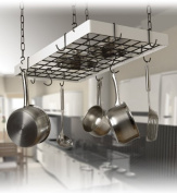 Grid Pot Rack in Classic Black and White Hooks