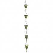 Patina Products R250 Verdigris Shade Cup Rain Chain Full Length