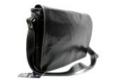 Mens Ladies Black Real Leather Messenger Satchel College, Uni, office Laptop bag