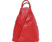 "FIRENSE - Casual Elegance, Cool City Backpack, Shoulder Bag, Soft Leather, 26 × 32 × 10 cm ""Denver"" Red"