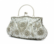Antique Handmade Seed Beaded Sequin Clutch Evening Bag Party Prom Floral Wedding Bags