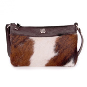 Real Leather Case, Trachtentasche Clutch Shoulder Bag with cowhide with Edelweiß, Dark Brown