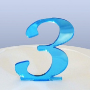 Number 3 Cake Topper Blue Acrylic Mirror in Script