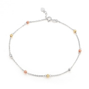 14ct Three Colour Yellow, Rose and White Gold Diamond-Cut Beads Anklet