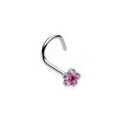 Nose Piercing Helix Flower Punk Jewellery 316L Surgical Steel Colour - Pink