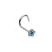 Nose Piercing Helix Flower Punk Jewellery 316L Surgical Steel Colour - Turquoise