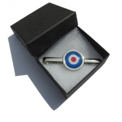 Handmade MOD Target Logo Design - RAF Themed - Silver Plated Tie Pin Slide - Gift Boxed