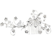 Ecloud Shop® Silver Plated Flower Leaf Crystal Wedding Prom Hair Comb Pin