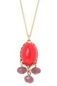 Cabochon Necklace Red and Grey - Gilt
