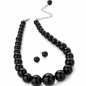 Black colour graduated bead choker necklace earring costume jewellery set