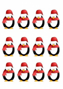 12X STAND UP PENGUIN, PREMIUM EDIBLE WAFER PAPER, CUPCAKE, CAKE, TOPPERS 1071