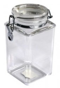 1570ml Plastic Square Asirtight Clip Top Vintage Spice Chutney Storage Jar Pot by Chabrias Ltd