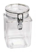 1240ml Plastic Square Asirtight Clip Top Vintage Spice Chutney Storage Jar Pot by Chabrias Ltd