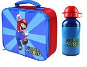 Super Mario Insulated Childrens Lunch Bag Aluminium Drinks Bottle Set