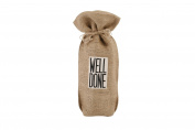 """Assorted Slogans Jute Wine Bottle Gift Bag - Bags - Hessian Natural - """"Well Done"""""""