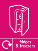 FRIDGE & FREEZERS RECYCLING SIGN - Self adhesive vinyl 150mm x 100mm