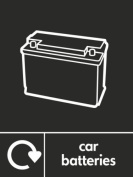 CAR BATTERY RECYCLING SIGN - Self adhesive vinyl 200mm x 300mm