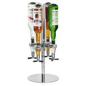 Oypla Four Bottle Rotating Spirit Drink Dispenser Stand Bar Shot Measurer