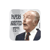 """""""PAPERS ARRIVED YET."""" Major FAWLTY TOWERS Coaster - TV / Television Themed Design"""
