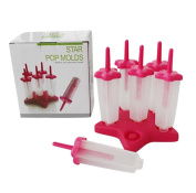 SMO Set of 6 Reusable DIY Star Shaped Popsicle Mould Ice Lolly Pop Mould