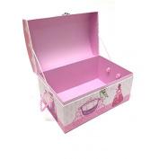 JVL Princess Design Cardboard Kids Toy Storage Room Tidy Box Treasure Chest Trunk