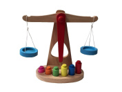 Wooden Balance Toy Scales Fun Educational Weighing With Colourful Weights