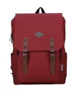 Fansela(TM) Unisex Rectangle Travel Cotton School Bag College Laptop Daypack Red