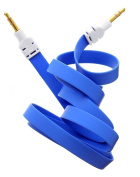 Outstanding Value Blue 3.5mm AUX Stereo Male to Male AUX Flat No Tangle Noodle Cable cord For AiPhone 6/6+, 5/5s, 5C, Ipod for Samsung S5,S4,S3, All Genreations Mp3 Mp4 Players Sony Creative for Samsung , HTC, Motorla , All Laptop Pc And ard 3.5Mm Jack Pl