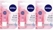 3 x Nivea SOFT ROSE Lip Balm 4.8g