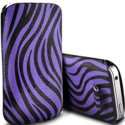 Purple Zebra PU Leather Zebra Pull Tab Pouch Cover Case for Doro Phone Easy 508 by Digi Pig
