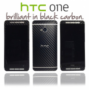 Textured Black Carbon Fibre Skin Sticker Wrap cover for HTC One M7 ...NOT CASE