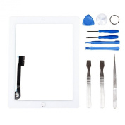 LL TRADER Touch Screen For White iPad 3/4 (3rd/4th Generation) Digitizer Front Panel Glass Replacement with Tools and Adhesive