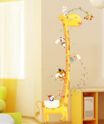 ufengke® Cute Giraffe and the Small Animal Friends Cartoon Height Chart Decals, Children's Room Nursery Removable Wall Stickers Murals