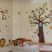 StickersWall Jungle Tree and Animals Nursery Wall Stickers