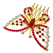 Acosta - Gold Tone with Red Crystal - Butterfly Hair Slide Comb - Bridal Wedding Accessory - Gift Boxed