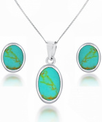 """Tuscany Silver Oval Turquoise Set of Earrings and Pendant on Curb Chain 46cm/18"""""""