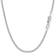 10K White Gold Round Rolo Link Chain - Width 2.3mm