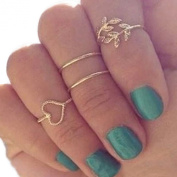 4PCS/Set Rings Urban Gold Plated Crystal Plain Cute Above Knuckle Ring Band Midi Ring