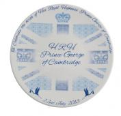 Aynsley 20cm Prince George Royal Baby Plate, Blue/ White