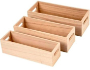Three Nesting Fruit Crate Style Wood Boxes with Solid Sides | Wooden Boxes