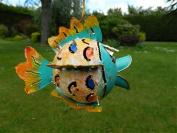 Fish Tea light Candle Holder Metal Hanging Tropical Fish Garden Lantern - Puffer Fish