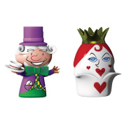 Alessi The Mad Hatter and The Queen of Hearts Figurines in Porcelain Hand DecoratedMulti-Colour