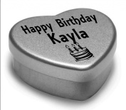 Happy Birthday Kayla Mini Heart Tin Gift Present For Kayla WIth Chocolates. Silver Heart Tin. Fits Beautifully in the Palm of Your Hand. Great Birthday Present To Show Somebody You are Thinking of Them.