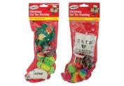 Pet Cat Christmas Xmas Stocking with Cat / Kitten Toys 2/pk