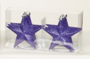 6 x Christmas Tree Hanging Decorations Purple glitter star Baubles
