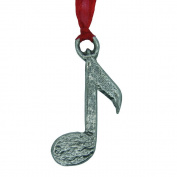 Handcast Pewter Musical Note Christmas Decoration on organza ribbon