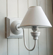 French shabby chic white wooden square wall light with cotton shade