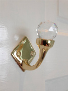 Stunning Faceted Glass Single Solid Brass Door Wall Hook Diamond shaped back plate including fixings