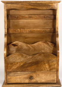 Wooden Letter Rack With Key Hooks And 1 Drawer