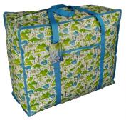 Large Bright Blue storage bag with pocket. Dinosaurs design. Toys, washing and laundry bag